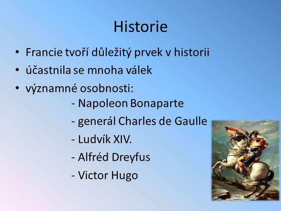 Historie Francie tvoří důležitý prvek v historii účastnila se mnoha válek významné osobnosti: - Napoleon Bonaparte - generál Charles de Gaulle - Ludví