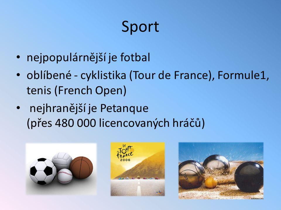 Sport nejpopulárnější je fotbal oblíbené - cyklistika (Tour de France), Formule1, tenis (French Open) nejhranější je Petanque (přes 480 000 licencovan