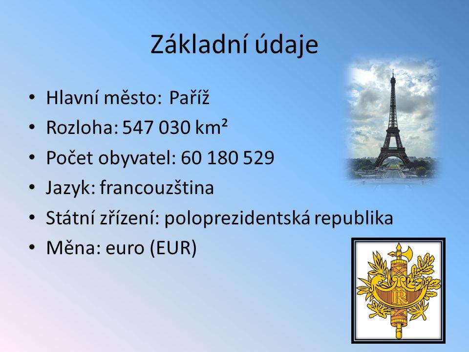 Základní údaje Hlavní město:Paříž Rozloha:547 030 km² Počet obyvatel: 60 180 529 Jazyk: francouzština Státní zřízení: poloprezidentská republika Měna: