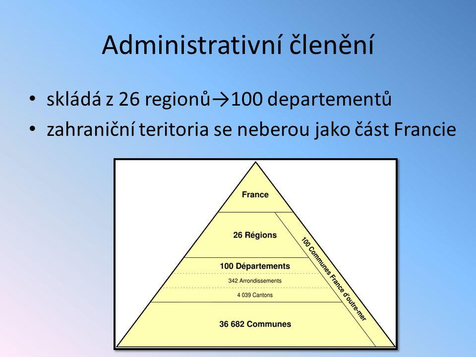 Administrativní členění skládá z 26 regionů→100 departementů zahraniční teritoria se neberou jako část Francie