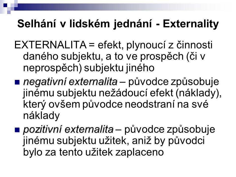 Selhání v lidském jednání - Externality EXTERNALITA = efekt, plynoucí z činnosti daného subjektu, a to ve prospěch (či v neprospěch) subjektu jiného negativní externalita – původce způsobuje jinému subjektu nežádoucí efekt (náklady), který ovšem původce neodstraní na své náklady pozitivní externalita – původce způsobuje jinému subjektu užitek, aniž by původci bylo za tento užitek zaplaceno
