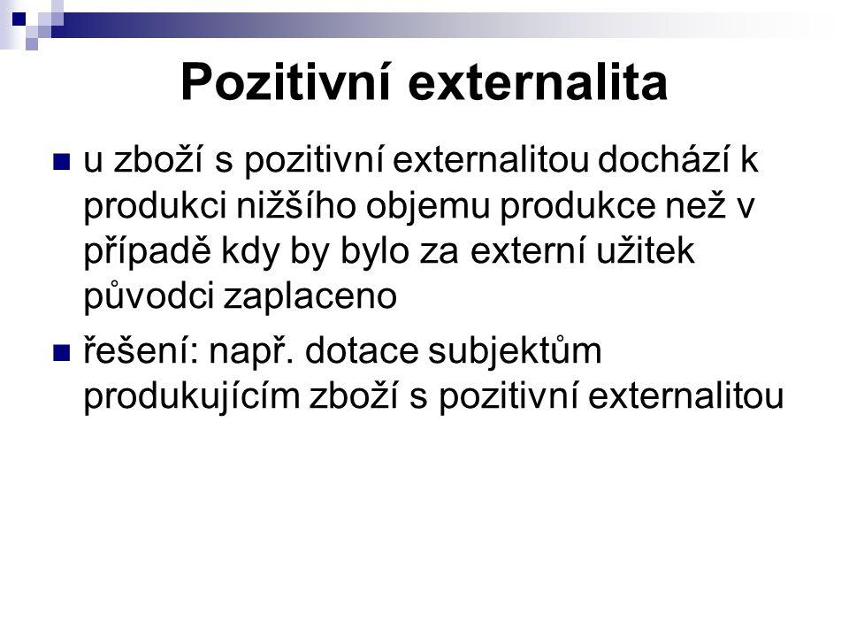 u zboží s pozitivní externalitou dochází k produkci nižšího objemu produkce než v případě kdy by bylo za externí užitek původci zaplaceno řešení: např.
