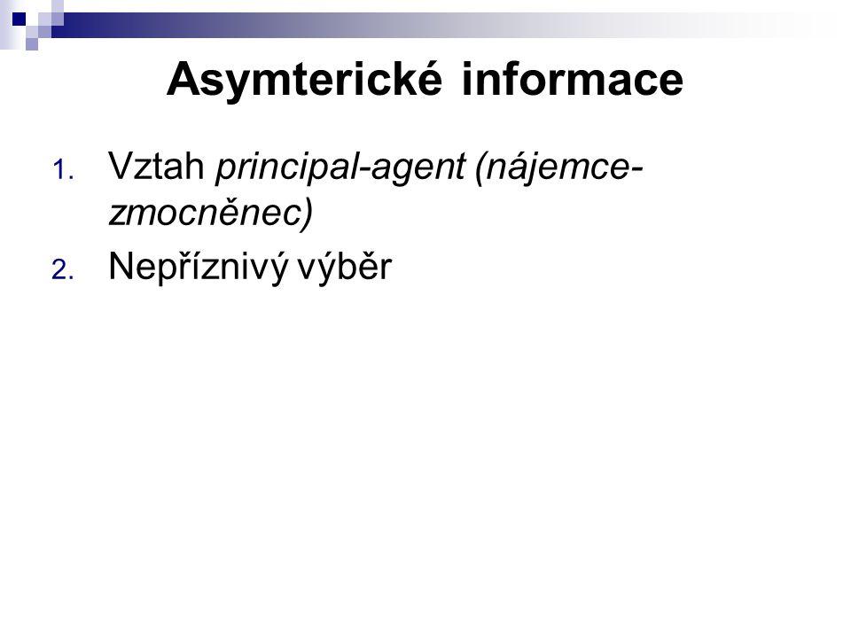 Asymterické informace 1. Vztah principal-agent (nájemce- zmocněnec) 2. Nepříznivý výběr
