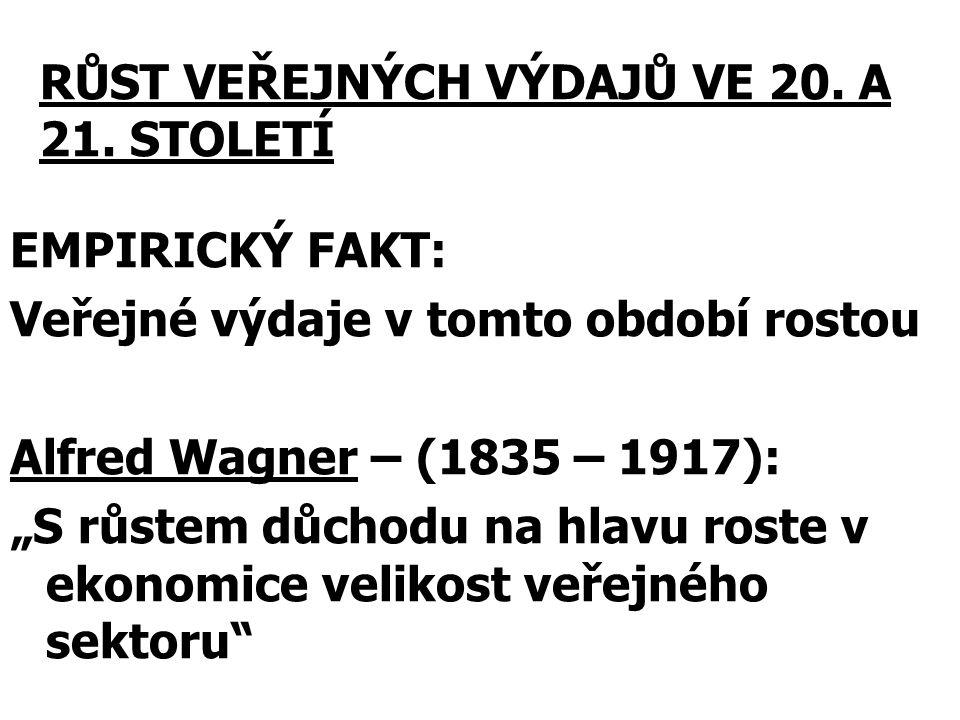 """EMPIRICKÝ FAKT: Veřejné výdaje v tomto období rostou Alfred Wagner – (1835 – 1917): """"S růstem důchodu na hlavu roste v ekonomice velikost veřejného se"""