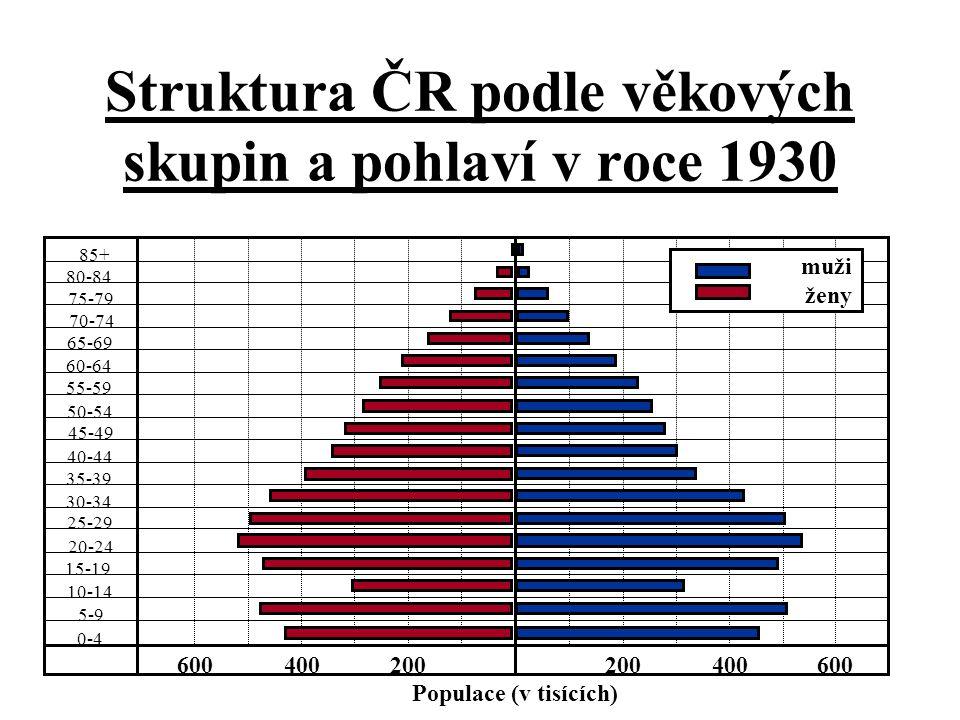 Struktura ČR podle věkových skupin a pohlaví v roce 1930 85+ 80-84 75-79 70-74 65-69 55-59 50-54 45-49 40-44 35-39 30-34 25-29 20-24 15-19 10-14 5-9 0