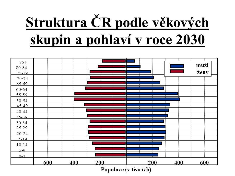 Struktura ČR podle věkových skupin a pohlaví v roce 2030 85+ 80-84 75-79 70-74 65-69 55-59 50-54 45-49 40-44 35-39 30-34 25-29 20-24 15-19 10-14 5-9 0