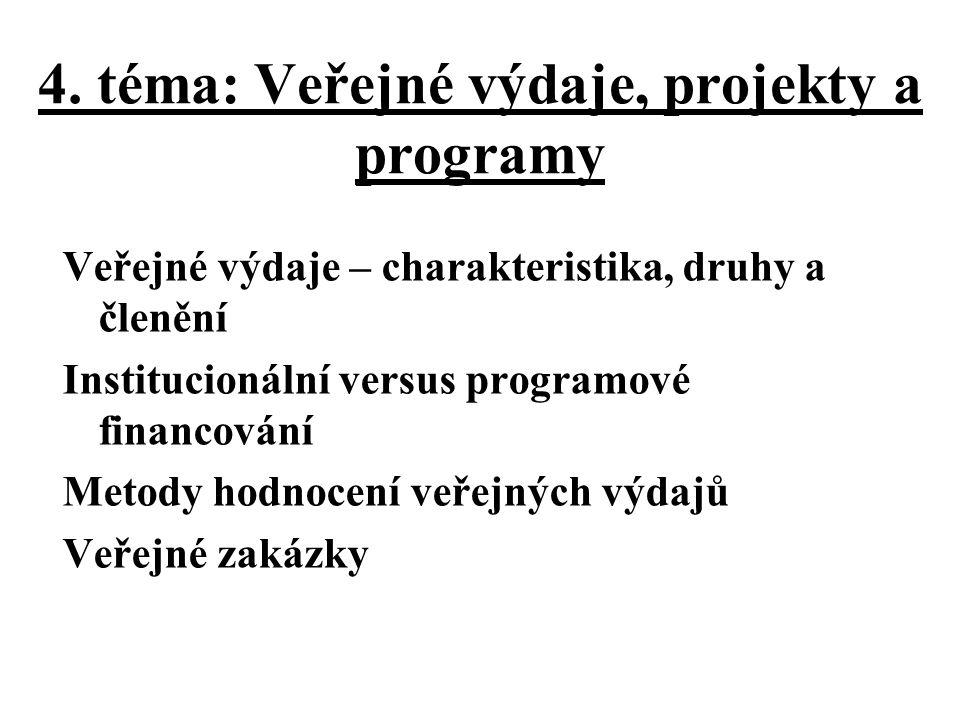 4. téma: Veřejné výdaje, projekty a programy Veřejné výdaje – charakteristika, druhy a členění Institucionální versus programové financování Metody ho