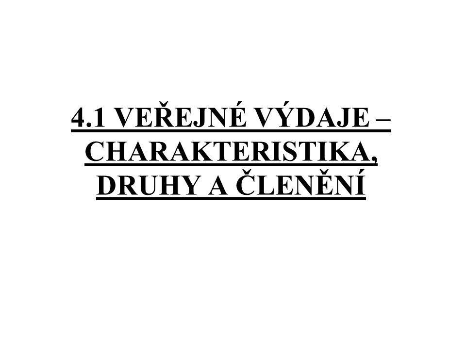 4.1 VEŘEJNÉ VÝDAJE – CHARAKTERISTIKA, DRUHY A ČLENĚNÍ