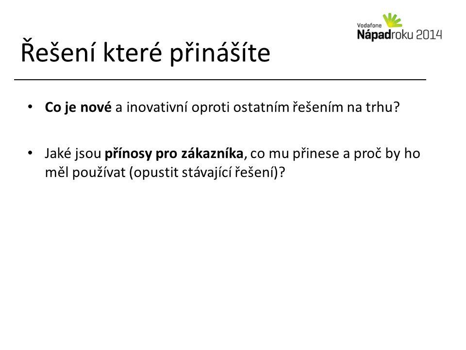 Řešení které přinášíte Co je nové a inovativní oproti ostatním řešením na trhu.