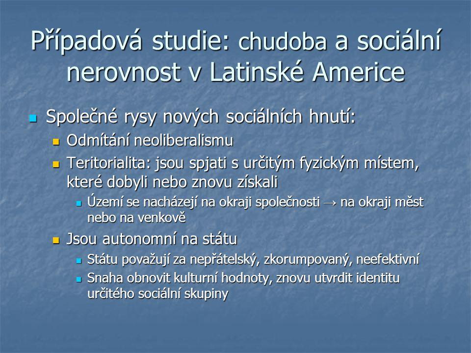 Případová studie: chudoba a sociální nerovnost v Latinské Americe Společné rysy nových sociálních hnutí: Společné rysy nových sociálních hnutí: Odmítá