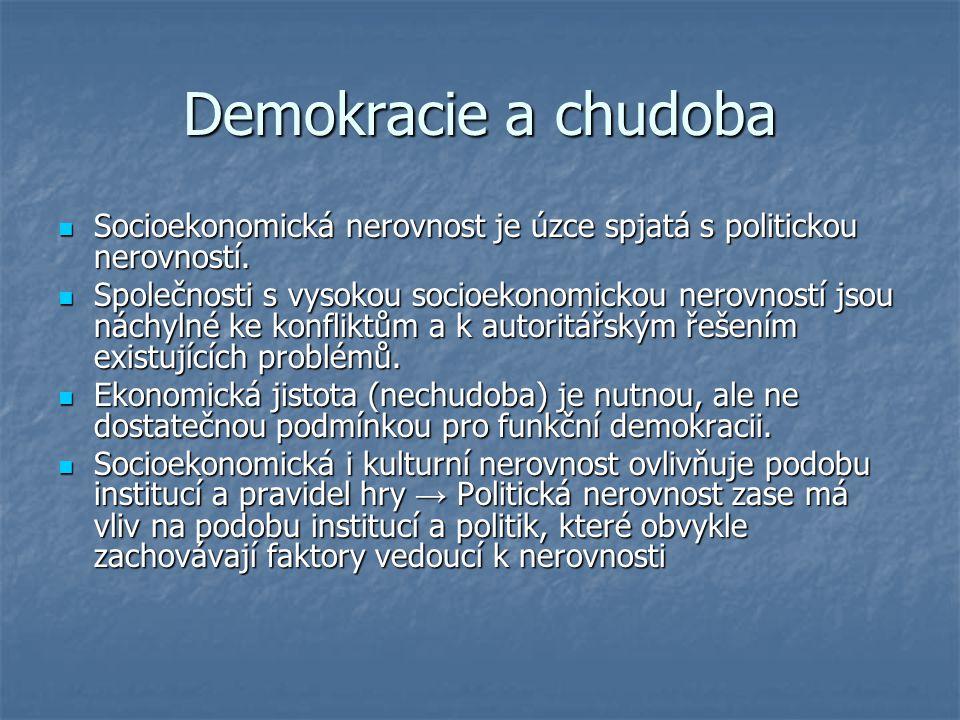 Demokracie a chudoba Socioekonomická nerovnost je úzce spjatá s politickou nerovností. Socioekonomická nerovnost je úzce spjatá s politickou nerovnost
