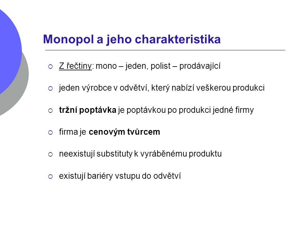Monopol a jeho charakteristika  Z řečtiny: mono – jeden, polist – prodávající  jeden výrobce v odvětví, který nabízí veškerou produkci  tržní poptá