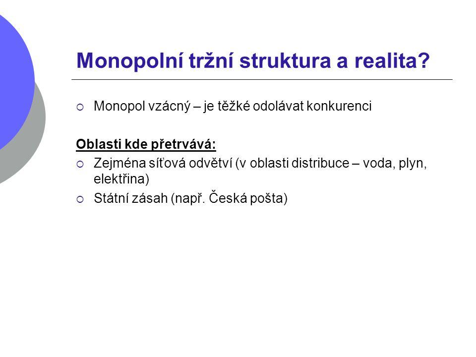 Monopolní tržní struktura a realita?  Monopol vzácný – je těžké odolávat konkurenci Oblasti kde přetrvává:  Zejména síťová odvětví (v oblasti distri