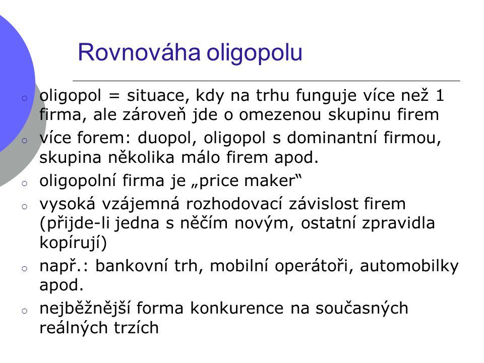 Rovnováha oligopolu o oligopol = situace, kdy na trhu funguje více než 1 firma, ale zároveň jde o omezenou skupinu firem o více forem: duopol, oligopo