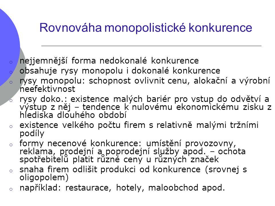 Rovnováha monopolistické konkurence o nejjemnější forma nedokonalé konkurence o obsahuje rysy monopolu i dokonalé konkurence o rysy monopolu: schopnos
