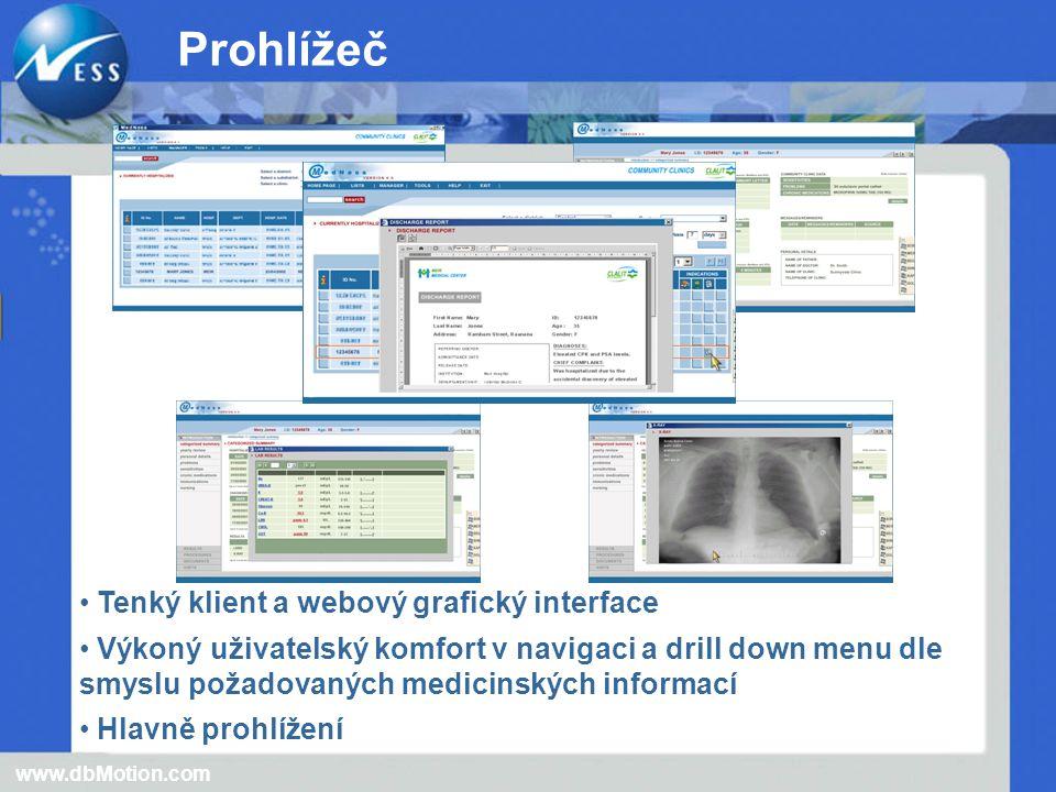 Tenký klient a webový grafický interface Výkoný uživatelský komfort v navigaci a drill down menu dle smyslu požadovaných medicinských informací Hlavně