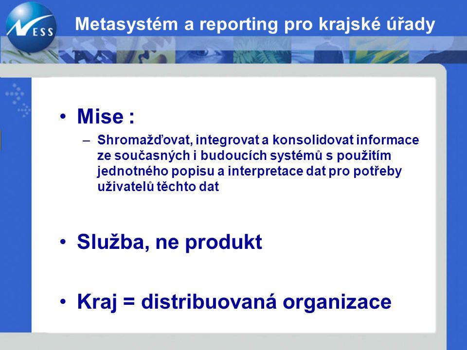 Metasystém a reporting pro krajské úřady Mise : –Shromažďovat, integrovat a konsolidovat informace ze současných i budoucích systémů s použitím jednot