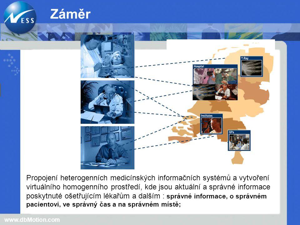 Propojení heterogenních medicínských informačních systémů a vytvoření virtuálního homogenního prostředí, kde jsou aktuální a správné informace poskytnuté ošetřujícím lékařům a dalším : správné informace, o správném pacientovi, ve správný čas a na správném místě; www.dbMotion.com Záměr