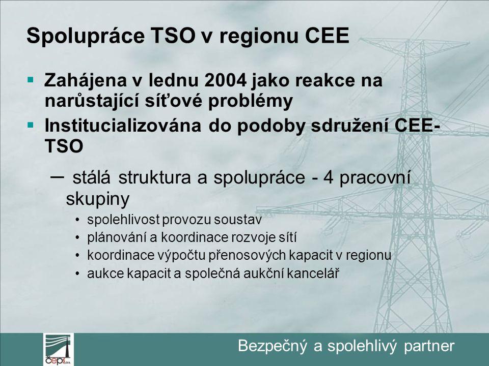 Bezpečný a spolehlivý partner Spolupráce TSO v regionu CEE  Zahájena v lednu 2004 jako reakce na narůstající síťové problémy  Institucializována do podoby sdružení CEE- TSO – stálá struktura a spolupráce - 4 pracovní skupiny spolehlivost provozu soustav plánování a koordinace rozvoje sítí koordinace výpočtu přenosových kapacit v regionu aukce kapacit a společná aukční kancelář