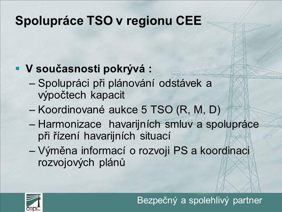 Bezpečný a spolehlivý partner Spolupráce TSO v regionu CEE  V současnosti pokrývá : –Spolupráci při plánování odstávek a výpočtech kapacit –Koordinované aukce 5 TSO (R, M, D) –Harmonizace havarijních smluv a spolupráce při řízení havarijních situací –Výměna informací o rozvoji PS a koordinaci rozvojových plánů