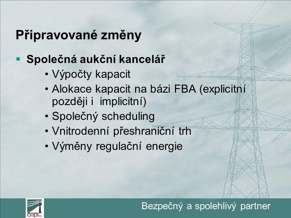 Bezpečný a spolehlivý partner Připravované změny  Společná aukční kancelář Výpočty kapacit Alokace kapacit na bázi FBA (explicitní později i implicitní) Společný scheduling Vnitrodenní přeshraniční trh Výměny regulační energie