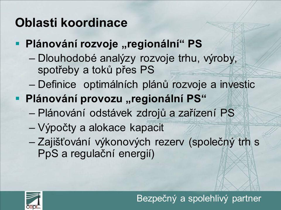 """Bezpečný a spolehlivý partner Oblasti koordinace  Plánování rozvoje """"regionální PS –Dlouhodobé analýzy rozvoje trhu, výroby, spotřeby a toků přes PS –Definice optimálních plánů rozvoje a investic  Plánování provozu """"regionální PS –Plánování odstávek zdrojů a zařízení PS –Výpočty a alokace kapacit –Zajišťování výkonových rezerv (společný trh s PpS a regulační energií)"""