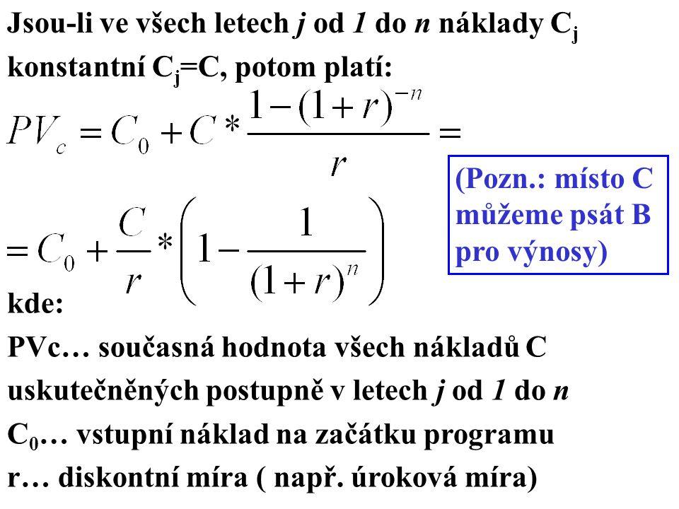 Jsou-li ve všech letech j od 1 do n náklady C j konstantní C j =C, potom platí: (Pozn.: místo C můžeme psát B pro výnosy) kde: PVc… současná hodnota všech nákladů C uskutečněných postupně v letech j od 1 do n C 0 … vstupní náklad na začátku programu r… diskontní míra ( např.