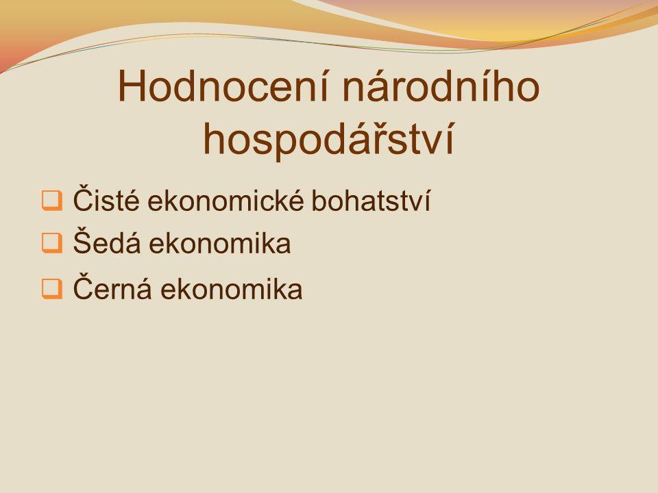 Hodnocení národního hospodářství  Čisté ekonomické bohatství  Šedá ekonomika  Černá ekonomika