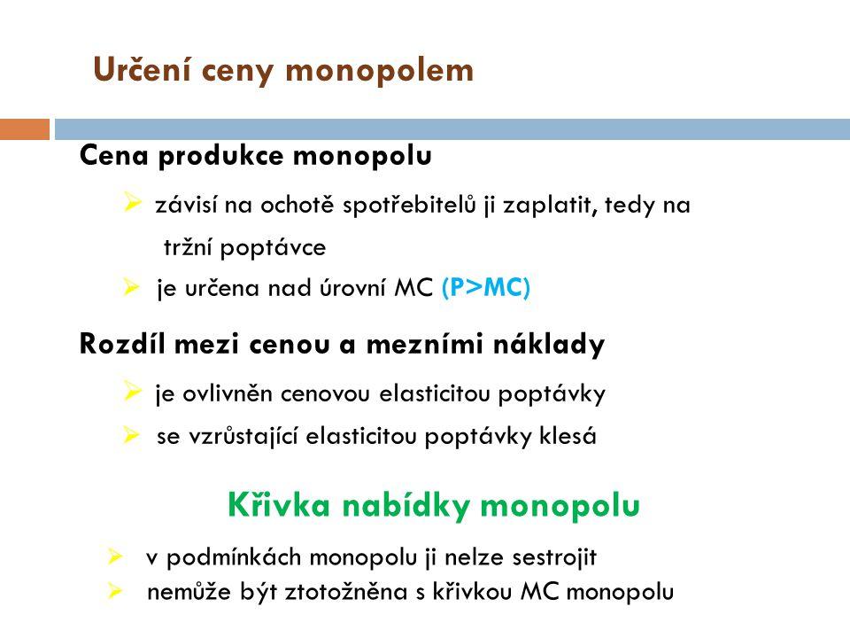 Monopolní síla Monopolní síla - schopnost stanovit cenu vyšší než mezní náklady Lernerův index - vyjadřuje velikost monopolní síly L = (P – MC)/ P Dosahuje hodnot v rozmezí 0 – 1 DK firma P = MC, L = 0 NK firma P > MC, L > 0 Pro vyjádření monopolní síly se používá:  míra koncentrace - % podíl nejsilnějších firem v odvětví na produkci odvětví,  zisk – diskutabilní kritérium.