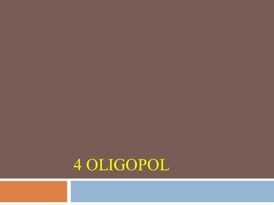 Oligopol  trh s malým počtem firem v odvětví (oligo – několik, duopol – dvě firmy v odvětví),  vysoký stupeň vzájemné rozhodovací závislosti,  produkt je podobný nebo identický,  každá firma je natolik silná, že může ovlivnit cenu,  existence bariér vstupu do odvětví.