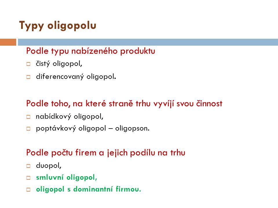 Smluvní oligopol Smluvní oligopol - situace, kdy firmy, které prodávají stejné nebo podobné výroby vytvoří vzájemnou dohodu o rozsahu výroby a ceně – koluze (smluvní oligopol).
