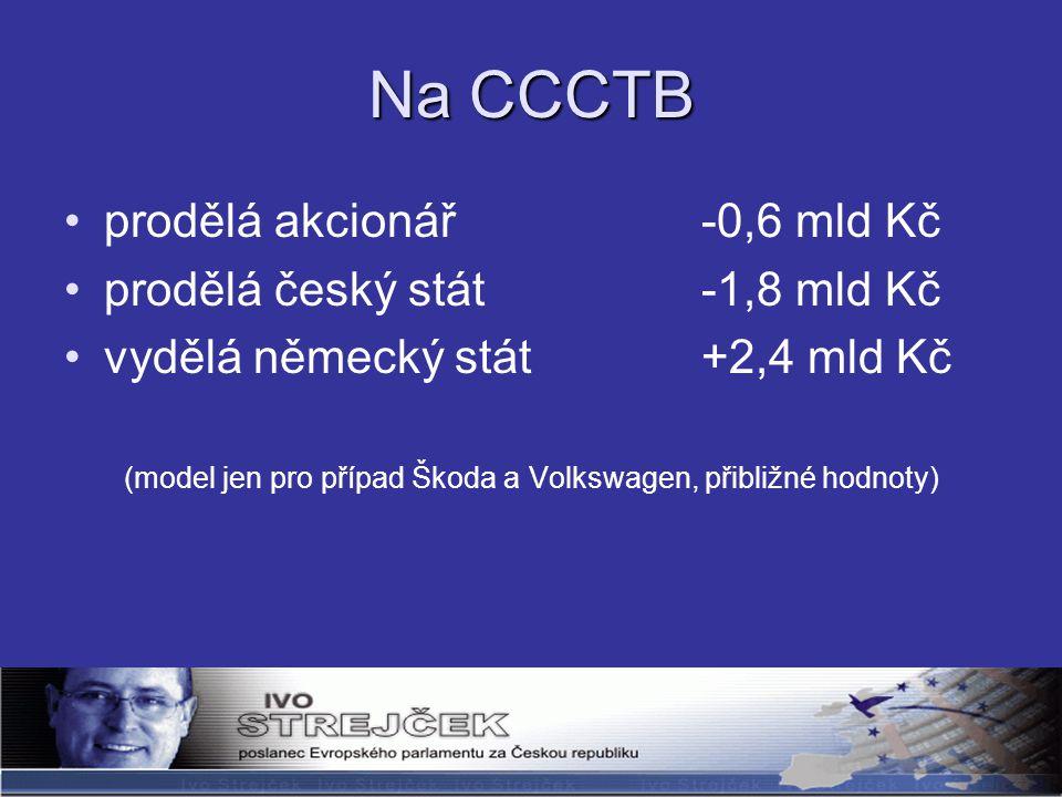 Na CCCTB prodělá akcionář -0,6 mld Kč prodělá český stát-1,8 mld Kč vydělá německý stát+2,4 mld Kč (model jen pro případ Škoda a Volkswagen, přibližné hodnoty)