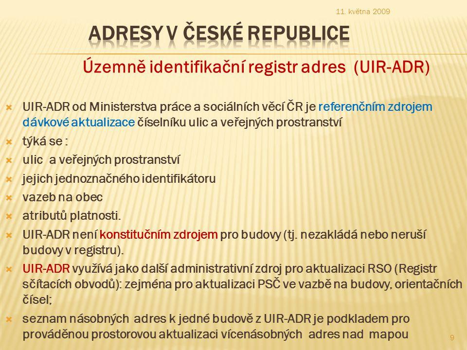 Územně identifikační registr adres (UIR-ADR)  UIR-ADR od Ministerstva práce a sociálních věcí ČR je referenčním zdrojem dávkové aktualizace číselníku ulic a veřejných prostranství  týká se :  ulic a veřejných prostranství  jejich jednoznačného identifikátoru  vazeb na obec  atributů platnosti.