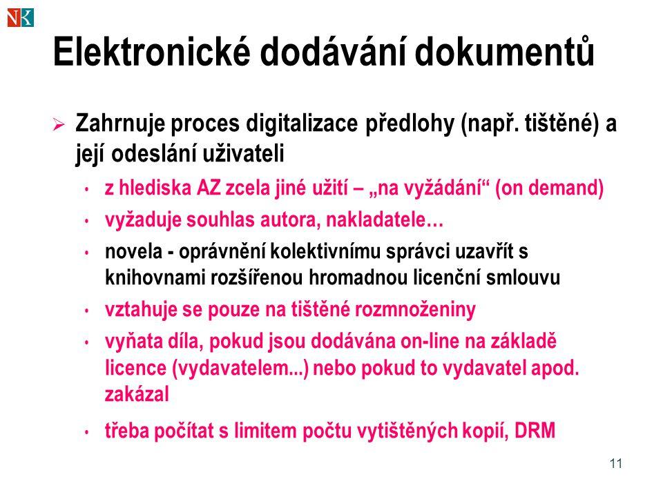 11 Elektronické dodávání dokumentů  Zahrnuje proces digitalizace předlohy (např. tištěné) a její odeslání uživateli z hlediska AZ zcela jiné užití –