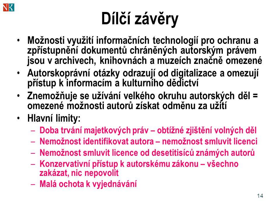 14 Dílčí závěry Možnosti využití informačních technologií pro ochranu a zpřístupnění dokumentů chráněných autorským právem jsou v archivech, knihovnác