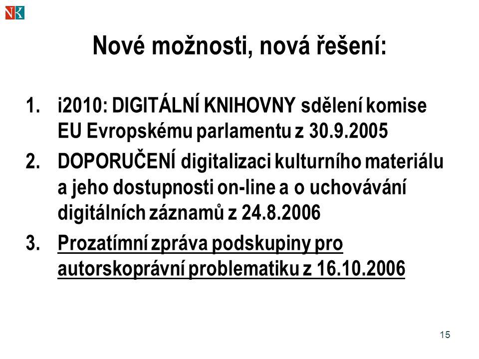 15 Nové možnosti, nová řešení: 1.i2010: DIGITÁLNÍ KNIHOVNY sdělení komise EU Evropskému parlamentu z 30.9.2005 2.DOPORUČENÍ digitalizaci kulturního ma