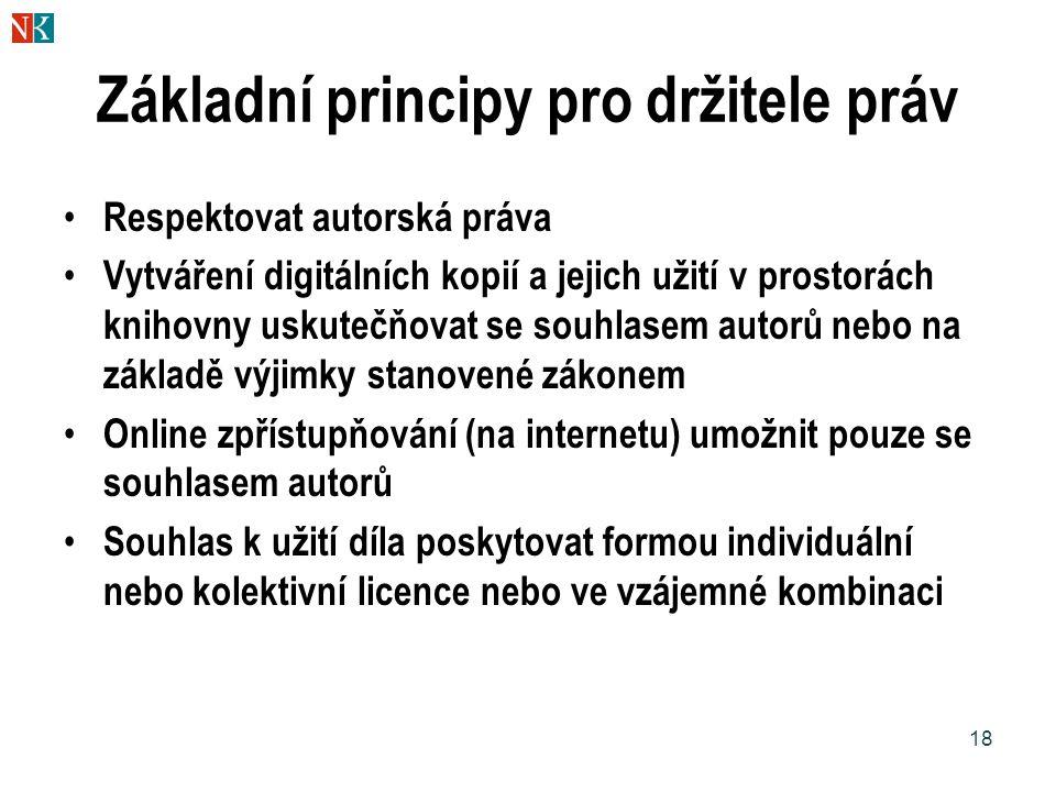 18 Základní principy pro držitele práv Respektovat autorská práva Vytváření digitálních kopií a jejich užití v prostorách knihovny uskutečňovat se sou