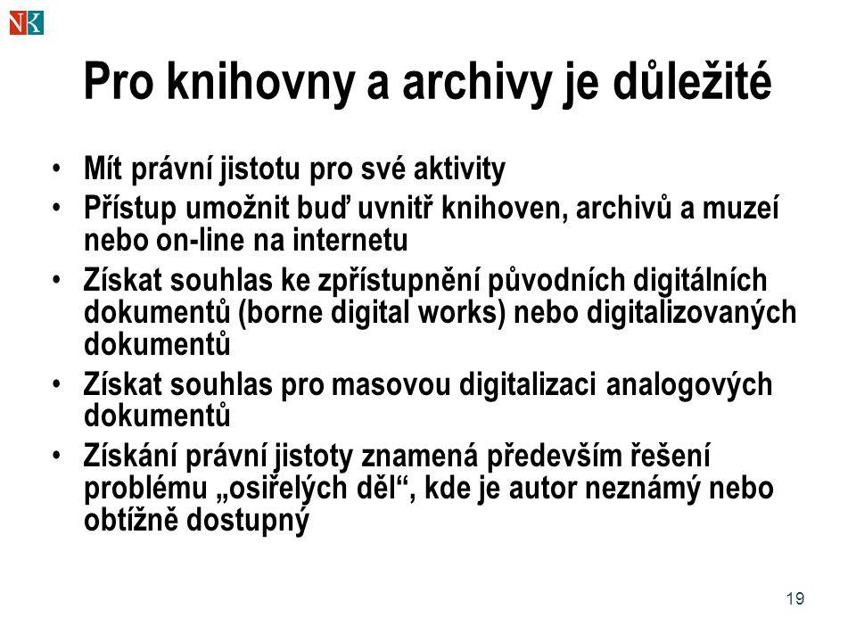 19 Pro knihovny a archivy je důležité Mít právní jistotu pro své aktivity Přístup umožnit buď uvnitř knihoven, archivů a muzeí nebo on-line na interne