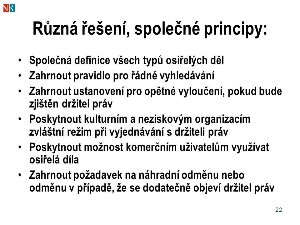 22 Různá řešení, společné principy: Společná definice všech typů osiřelých děl Zahrnout pravidlo pro řádné vyhledávání Zahrnout ustanovení pro opětné