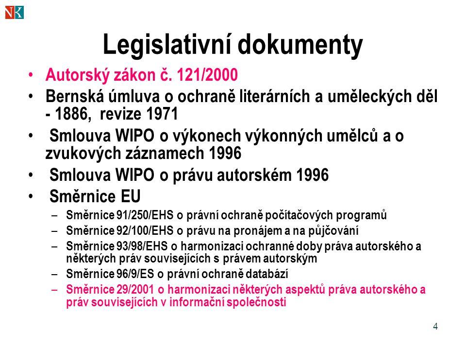 4 Legislativní dokumenty Autorský zákon č. 121/2000 Bernská úmluva o ochraně literárních a uměleckých děl - 1886, revize 1971 Smlouva WIPO o výkonech