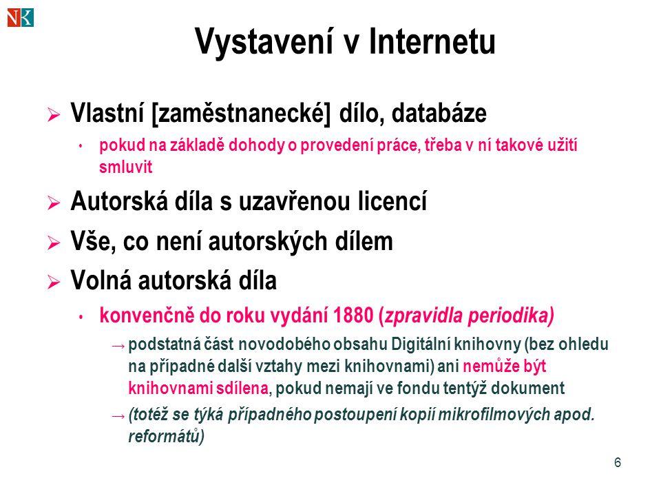 6 Vystavení v Internetu  Vlastní [zaměstnanecké] dílo, databáze pokud na základě dohody o provedení práce, třeba v ní takové užití smluvit  Autorská