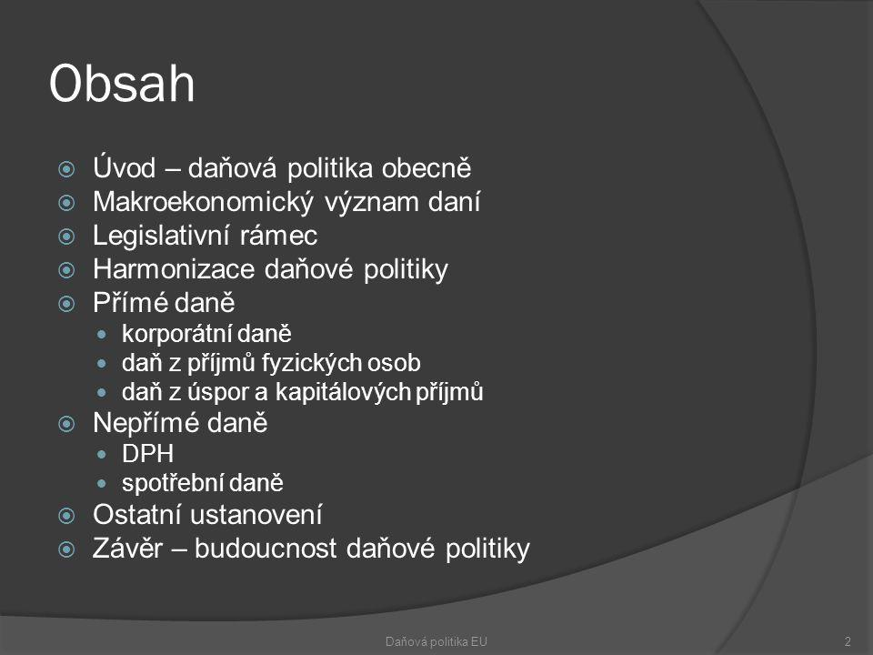 Obsah  Úvod – daňová politika obecně  Makroekonomický význam daní  Legislativní rámec  Harmonizace daňové politiky  Přímé daně korporátní daně daň z příjmů fyzických osob daň z úspor a kapitálových příjmů  Nepřímé daně DPH spotřební daně  Ostatní ustanovení  Závěr – budoucnost daňové politiky Daňová politika EU2