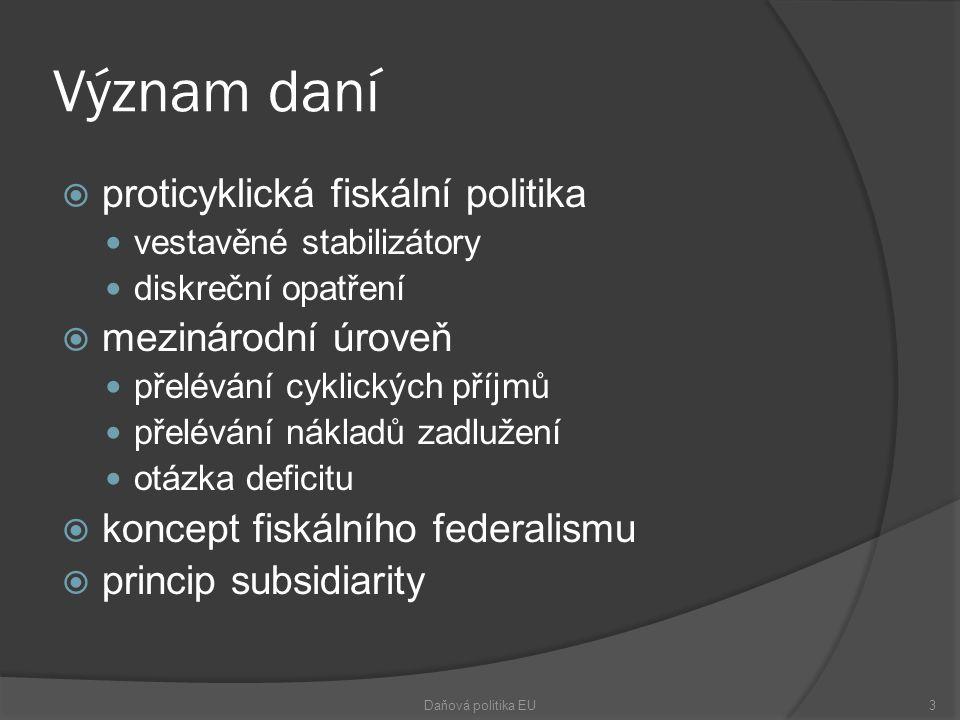 Význam daní  proticyklická fiskální politika vestavěné stabilizátory diskreční opatření  mezinárodní úroveň přelévání cyklických příjmů přelévání nákladů zadlužení otázka deficitu  koncept fiskálního federalismu  princip subsidiarity Daňová politika EU3