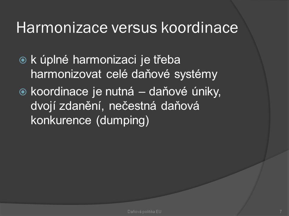 Harmonizace versus koordinace  k úplné harmonizaci je třeba harmonizovat celé daňové systémy  koordinace je nutná – daňové úniky, dvojí zdanění, nečestná daňová konkurence (dumping) Daňová politika EU7
