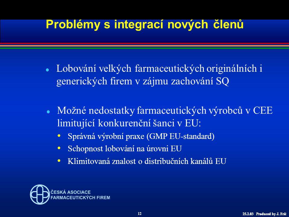 l Lobování velkých farmaceutických originálních i generických firem v zájmu zachování SQ Problémy s integrací nových členů l Možné nedostatky farmaceutických výrobců v CEE limitující konkurenční šanci v EU: Správná výrobní praxe (GMP EU-standard) Schopnost lobování na úrovni EU Klimitovaná znalost o distribučních kanálů EU 12 25.2.03 Produced by J.