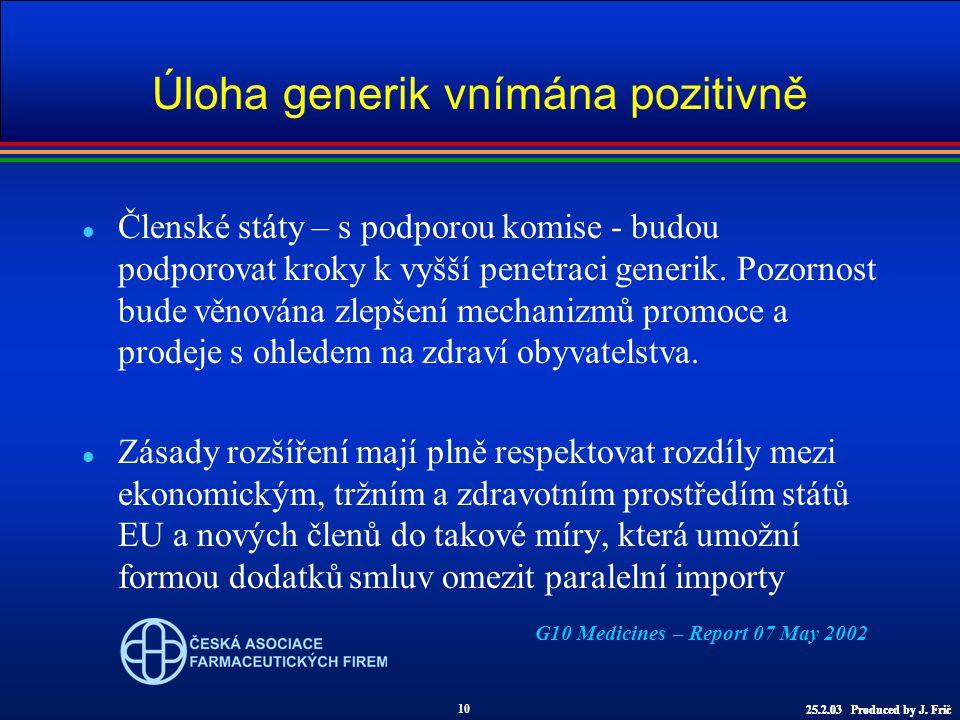 Úloha generik vnímána pozitivně l Členské státy – s podporou komise - budou podporovat kroky k vyšší penetraci generik.