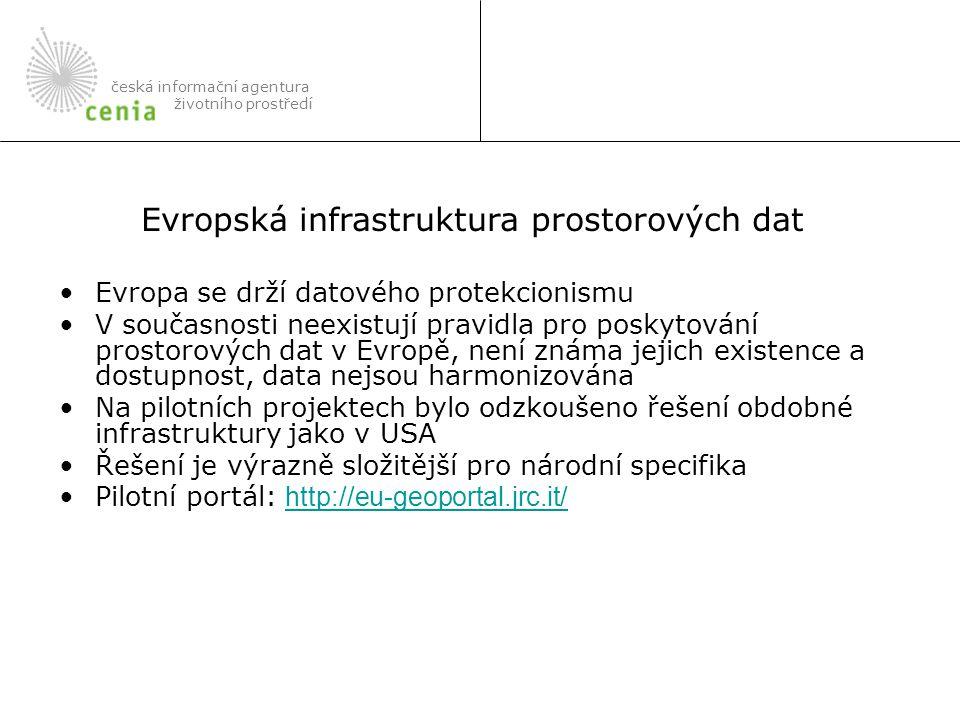 Evropa se drží datového protekcionismu V současnosti neexistují pravidla pro poskytování prostorových dat v Evropě, není známa jejich existence a dostupnost, data nejsou harmonizována Na pilotních projektech bylo odzkoušeno řešení obdobné infrastruktury jako v USA Řešení je výrazně složitější pro národní specifika Pilotní portál: http://eu-geoportal.jrc.it/ http://eu-geoportal.jrc.it/ česká informační agentura životního prostředí Evropská infrastruktura prostorových dat