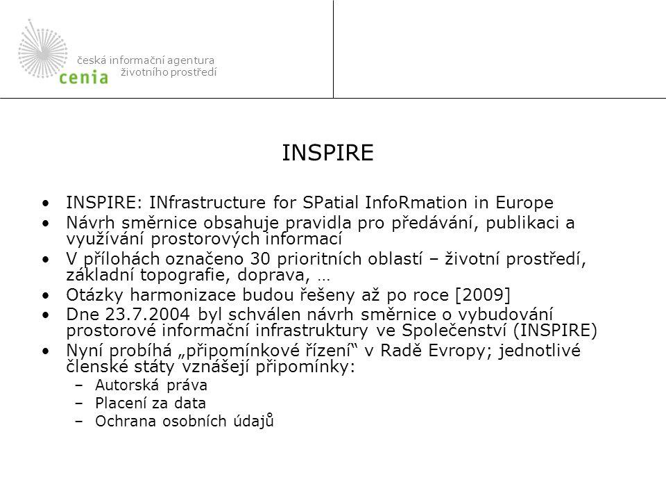 """INSPIRE: INfrastructure for SPatial InfoRmation in Europe Návrh směrnice obsahuje pravidla pro předávání, publikaci a využívání prostorových informací V přílohách označeno 30 prioritních oblastí – životní prostředí, základní topografie, doprava, … Otázky harmonizace budou řešeny až po roce [2009] Dne 23.7.2004 byl schválen návrh směrnice o vybudování prostorové informační infrastruktury ve Společenství (INSPIRE) Nyní probíhá """"připomínkové řízení v Radě Evropy; jednotlivé členské státy vznášejí připomínky: –Autorská práva –Placení za data –Ochrana osobních údajů česká informační agentura životního prostředí INSPIRE"""