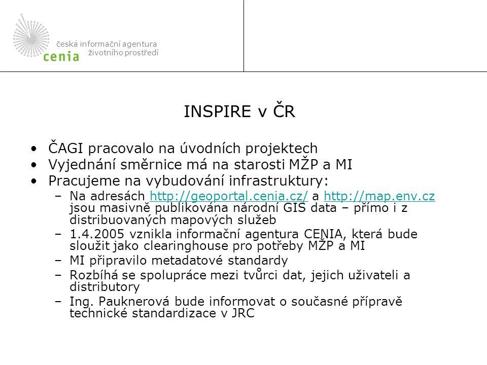 ČAGI pracovalo na úvodních projektech Vyjednání směrnice má na starosti MŽP a MI Pracujeme na vybudování infrastruktury: –Na adresách http://geoportal.cenia.cz/ a http://map.env.cz jsou masivně publikována národní GIS data – přímo i z distribuovaných mapových služebhttp://geoportal.cenia.cz/http://map.env.cz –1.4.2005 vznikla informační agentura CENIA, která bude sloužit jako clearinghouse pro potřeby MŽP a MI –MI připravilo metadatové standardy –Rozbíhá se spolupráce mezi tvůrci dat, jejich uživateli a distributory –Ing.