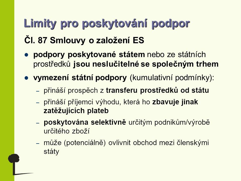 Limity pro poskytování podpor Čl. 87 Smlouvy o založení ES podpory poskytované státem nebo ze státních prostředků jsou neslučitelné se společným trhem